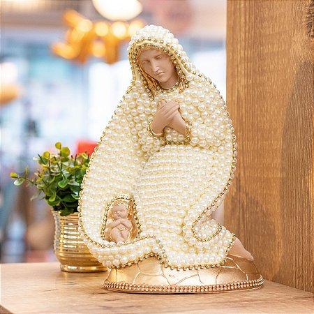 Madona Maria passa na frente de Pérolas 25cm- Dourada