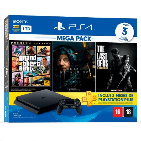 Console Vídeo Game Sony PlayStation 4 Mega Pack, 1TB - GTA V + Death Stranding + The Last of Us + 3 meses PlayStation Plus