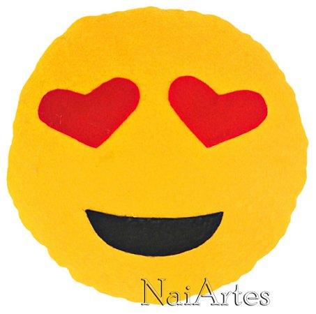 Almofada Emoticon Emoji Watsapp Sorriso com Olhos de Coração