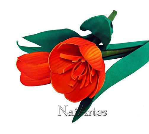 Flor Artificial Tulipa Laranja Dúzia
