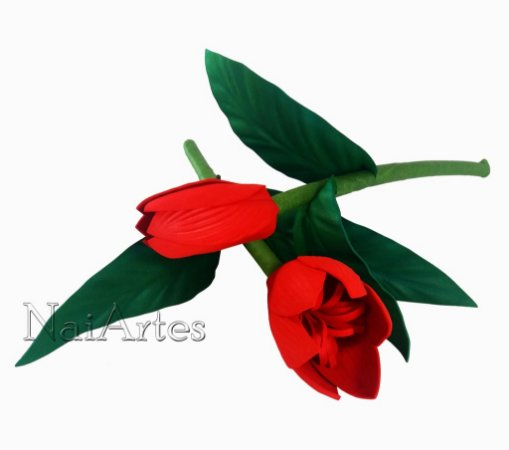 Flor Artificial Tulipa Vermelha Dúzia