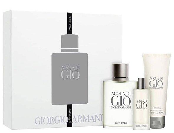 Kit Acqua di Giò Pour Homme Giorgio Armani  Eau de Toilette 100ml + 15 ml + Gel de Banho 75ml