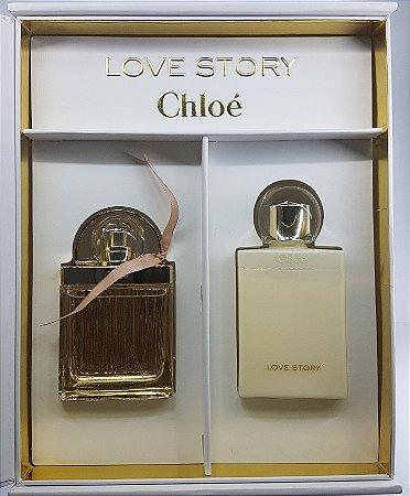Kit Perfume Chloé Love Story EDT Feminino 50ml + Body Lotion 100ML