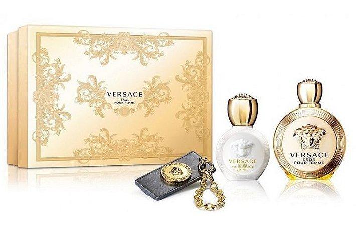 Kit Versace Eros Pour Femme Eau de Parfum 100ML + Body Lotion 100ML + Chaveiro - Perfume Feminino
