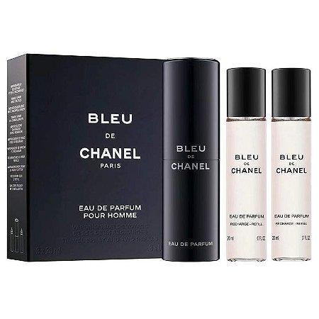 Kit Bleu de Chanel Pour Homme Eau de Parfum 3 x 20ml - Perfume Masculino