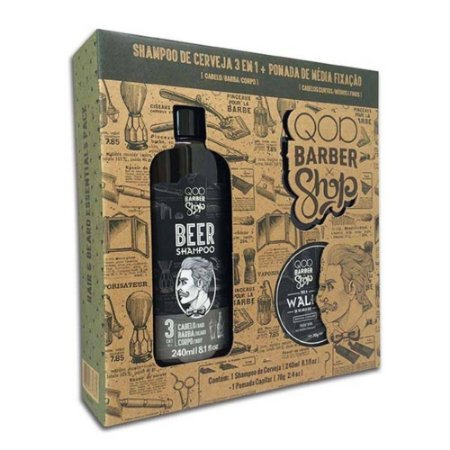 Kit QOD Barber Shop Beer - Shampoo 3 em 1 240ml + Pomada Capilar Media Fixação 70g