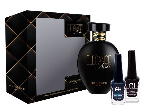 Kit Ana Hickmann Elegance Noir - Deo Colônia 80ml + 2 Esmaltes 9ml