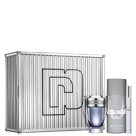 Kit Invictus Paco Rabanne Eau de Toilette 50ml + Desodorante 150ml + Travel Spray 10ml - Masculino