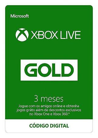 Cartão Xbox Live Microsoft Gold 3 meses (Nacional)