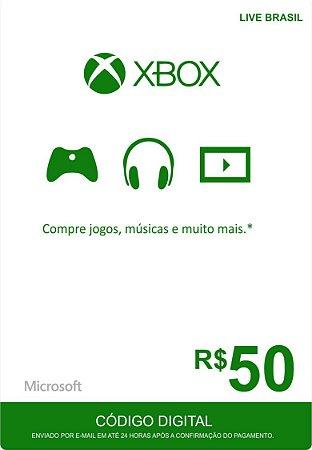 Microsoft Xbox Live - Cartão Pré Pago R50