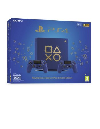 Ps4 Slim Playstation 500gb Days Of Play Blue Com 2 Controles