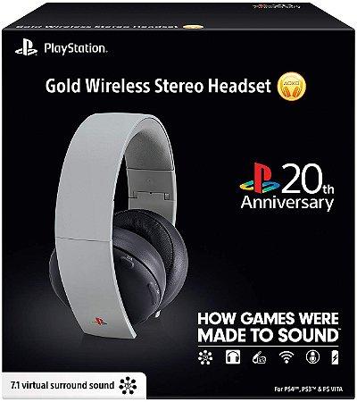 Headset Pulse Gold 2.0 20th Edição de Aniversário 20 anos Sony 7.1 (para PlayStation 3 e 4 PS4 PS3 PC Mac)