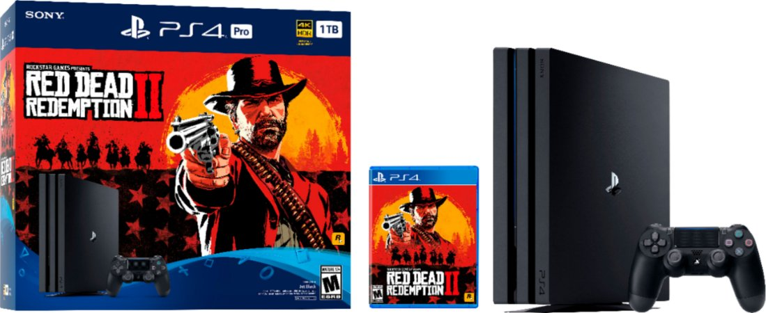 Console PlayStation 4 Pro 1TB Red Dead Redemption 2 Bundle