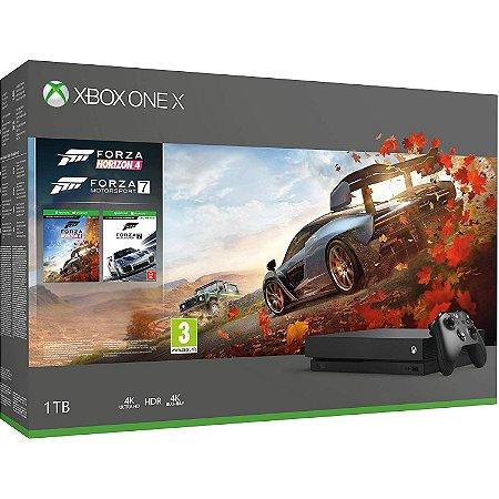 Console xbox one x 1tb com jogo forza horizon 4 e motorsport 7 - preto