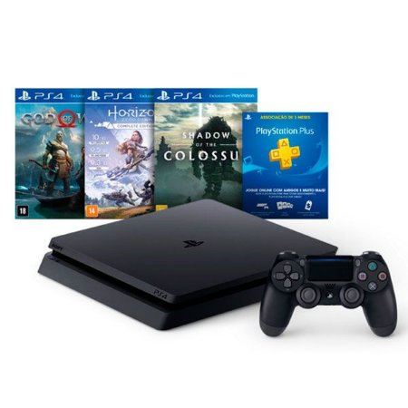 console playstation 4 slim 1tb 2115b c god of war,horizon,shadow + psn plus 3 meses