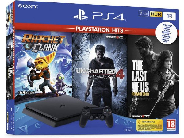 Console sony playstation 4 slim 1tb com jogos ratchet clank, the last of us e uncharted 4