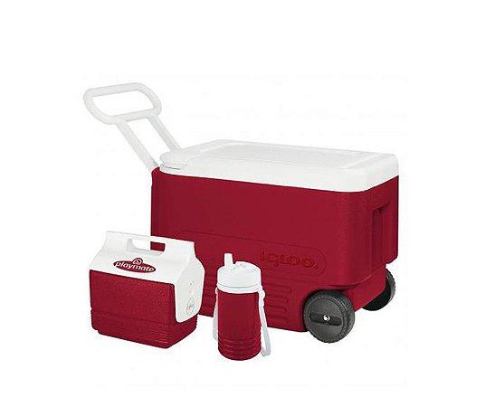Caixa Térmica Wheelie Cool 38 QT Combo Vermelho