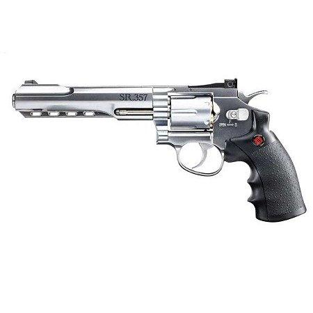 "Revolver de Pressão Gas CO2 SR357 Silver 6"" Full Metal 6 Tiros 4,5mm"