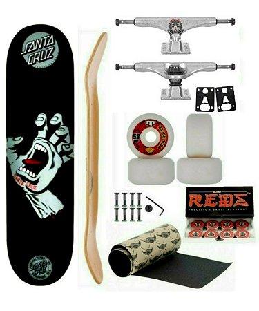Skate Pró Santa Cruz 8.5 + Crail 149mm + Moska 58+ Redbones