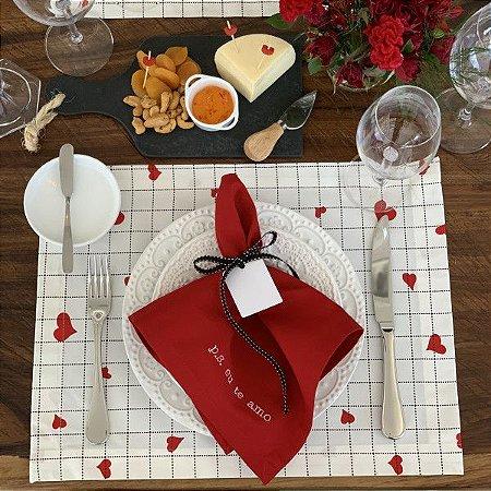 Guardanapo Coleção Love Bordado Vermelho