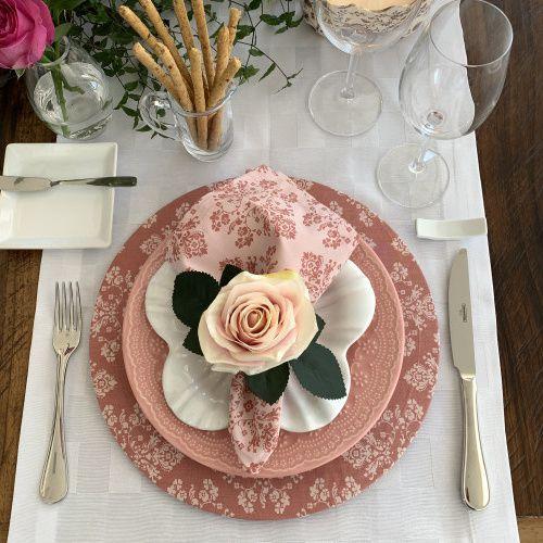 Capa de Sousplat Arabesco Rosé com Rosa