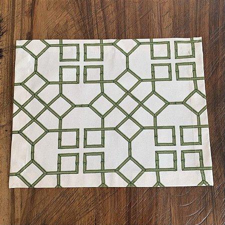 Jogo Americano Bambu Geométrico Verde