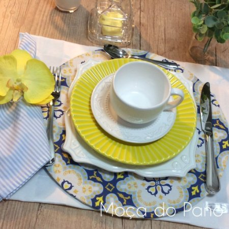 Capa de Sousplat Azulejo Azul e Amarelo