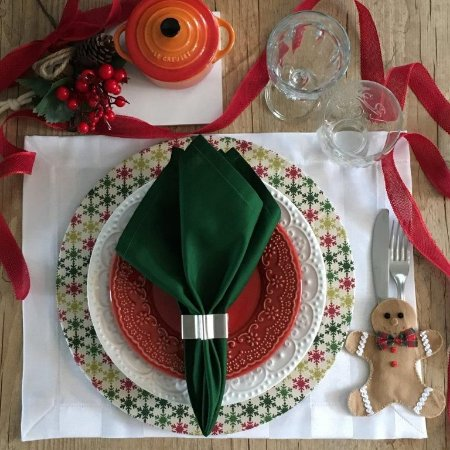 Capa de Sousplat Natal Floco de Neve Colorido