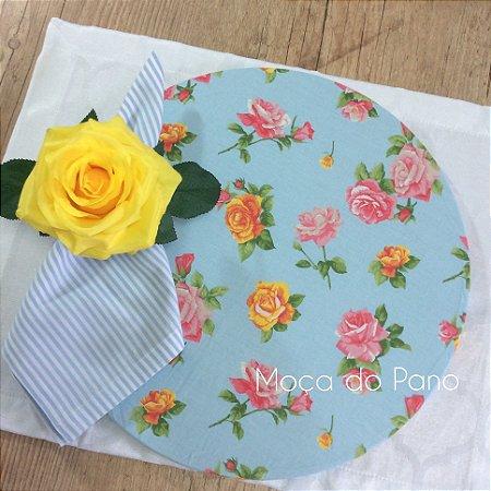 Capa de Sousplat Floral Fundo Azul