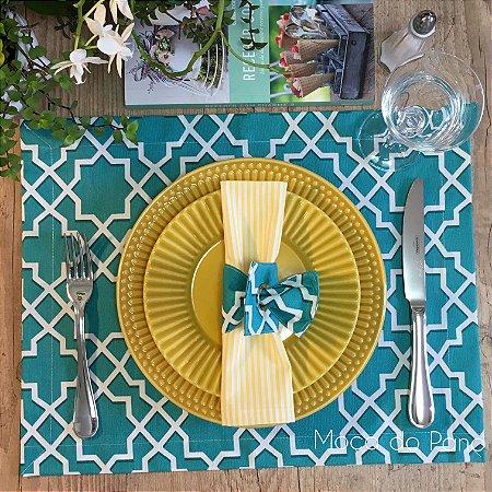Jogo Americano Coleção Geometric Azul Turquesa Com Porta Guardanapo