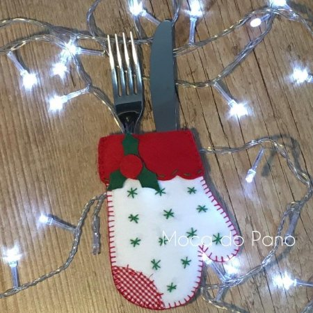 Porta Talheres Natal Luva Branca