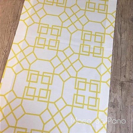 Caminho de Mesa Arabic Branco e Amarelo