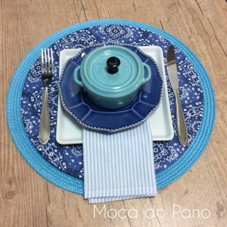Guardanapo Listrado Azul Claro e Branco