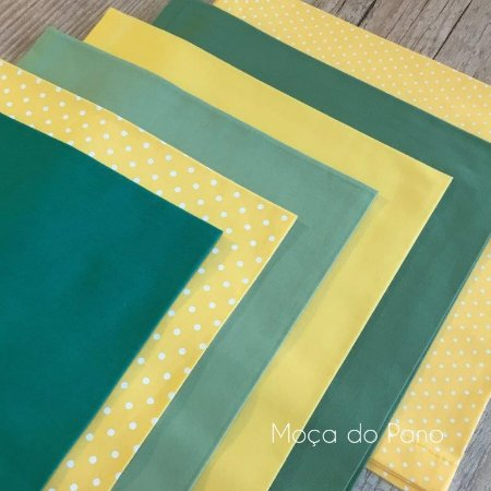 Conjunto de Guardanapos Amarelo e Verde 6 unidades