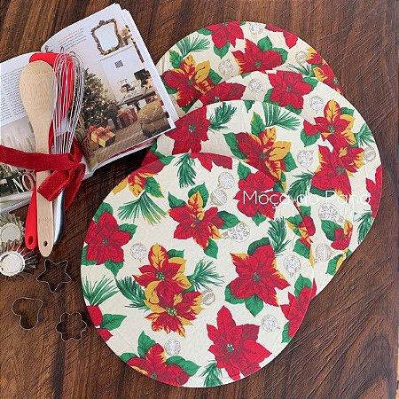 Conjunto Capa de Sousplat Flor de Natal 4 Unidades