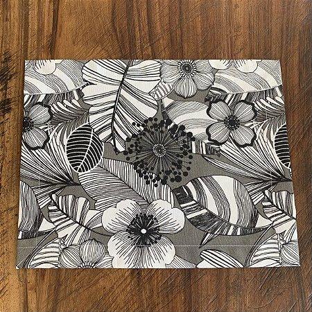 Jogo Americano Impermeável Floral Preto e Branco