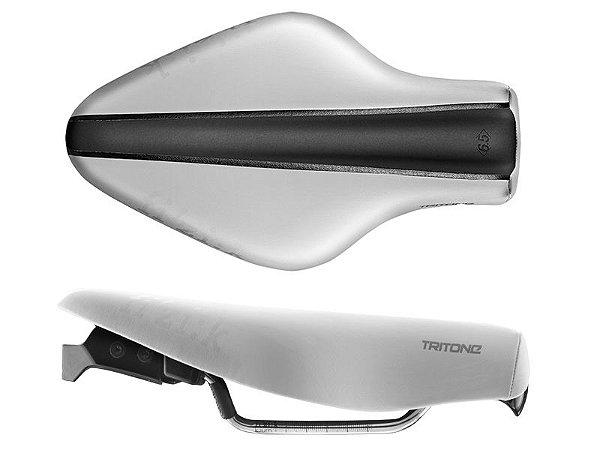Selim Fizik Tritone 6.5 Kium Triathlon Branco Cinza Escuro