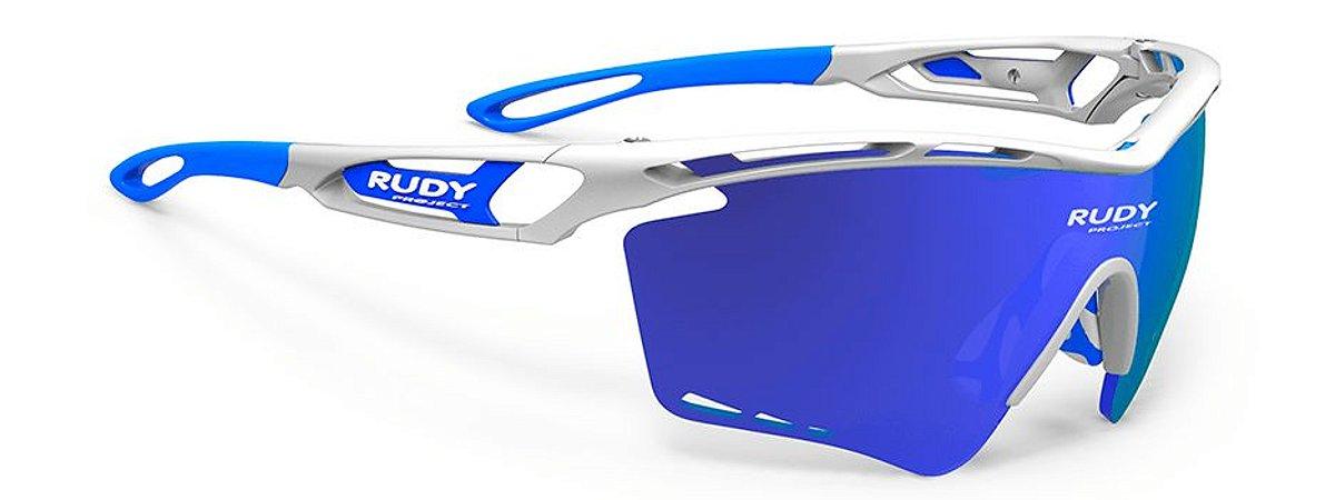 Óculos Rudy Project Tralyx XL Branco Azul Lente Espelhada