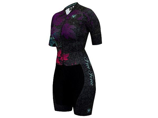 Macaquinho Ciclismo Feminino Free Force Stamp Preto