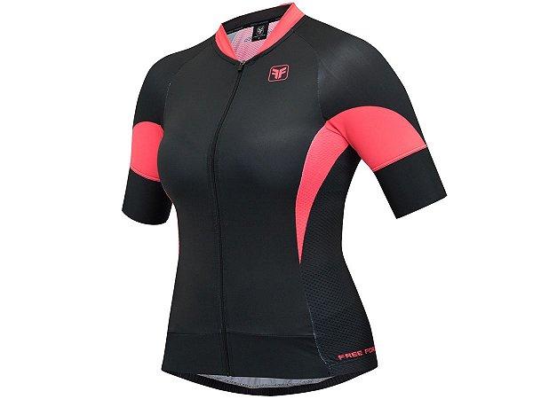 Camisa Ciclismo Feminina Free Force Heave Coral
