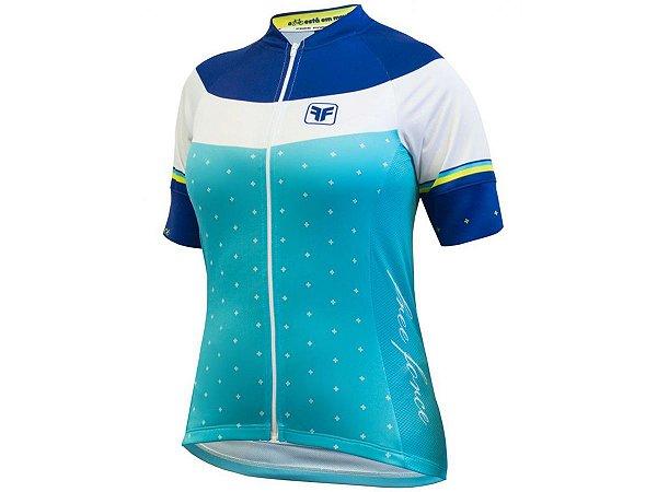 Camisa Free Force Happy Azul Turquesa Feminina Ciclismo