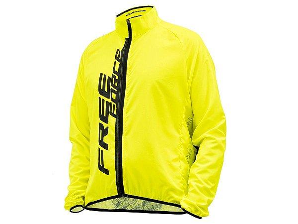 Jaqueta Ciclismo Corta Vento Free Force Fit Amarel Masculina