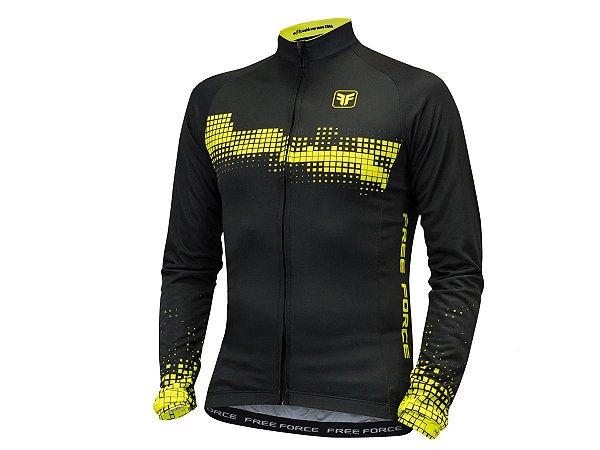 Camisa Ciclismo Free Force Cyber Preto Amarelo Manga Longa
