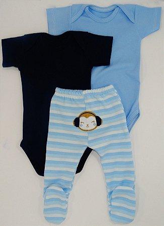 Kit Body Urso  Azul claro