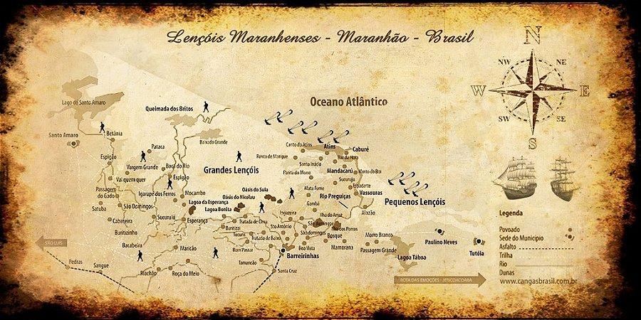 Mapa dos Lençóis Maranhenses 70x140 cm
