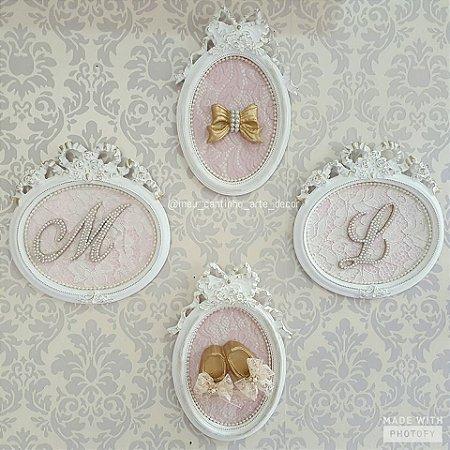 Quadro menina composição letra, laço e sapatinho
