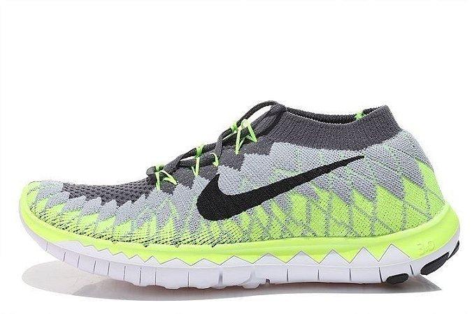 Tênis Nike FREE 3.0 Flyknit - Feminino - Cinza/Verde