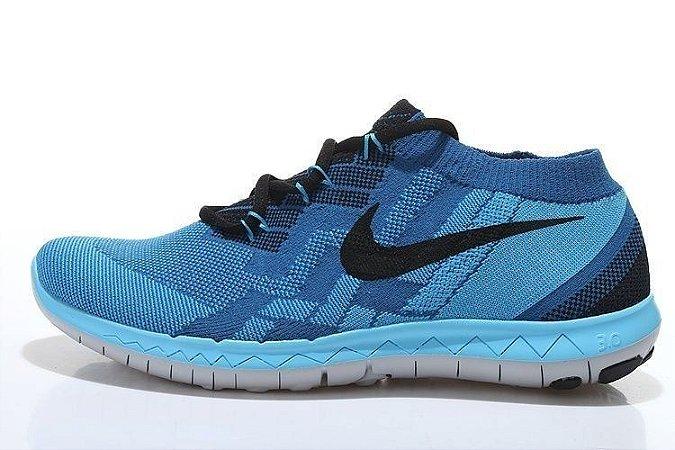 Tênis Nike FREE 3.0. Flyknit - Masculino - Azul/Preto