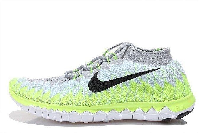 Tênis Nike FREE 3.0. Flyknit - Masculino - Branco/Verde
