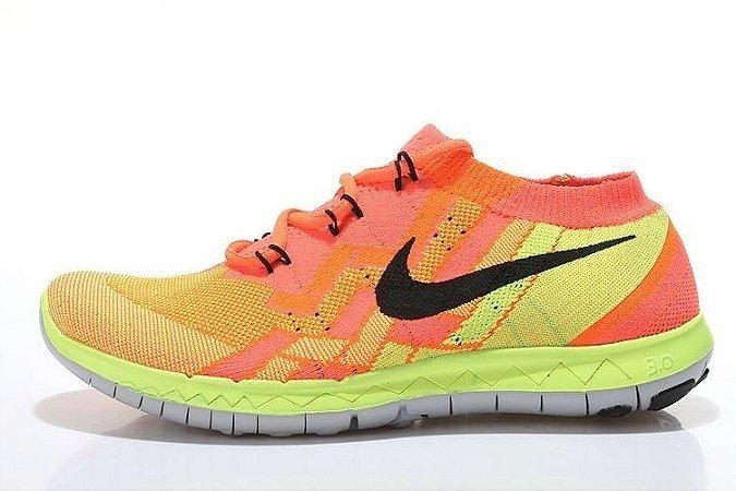Tênis Nike FREE 3.0. Flyknit - Masculino - Laranja/Verde